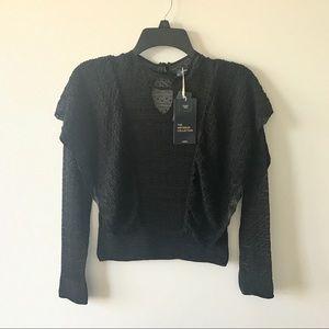Zara Knit Italian Yarn Lace Ruffle Top Blouse Crop